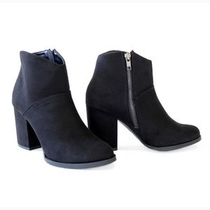 sursky black suede ankle boots